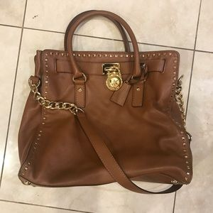 Michael Kors hamilton satchel with gold hardware